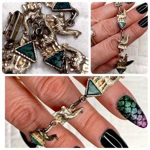 Vintage Sterling Silver llama bracelet with stones